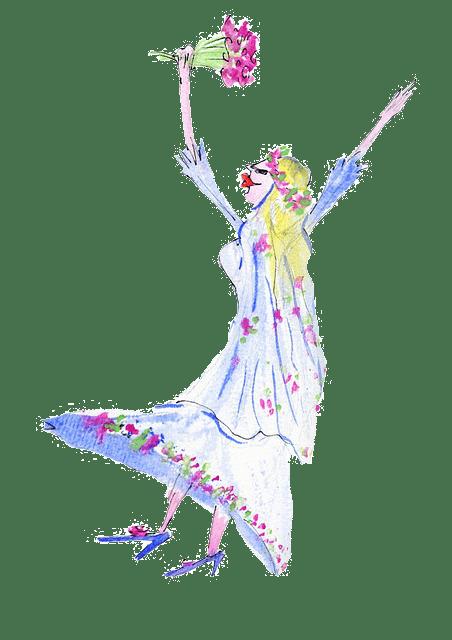 Braut mit Brautstraus, die sich freut