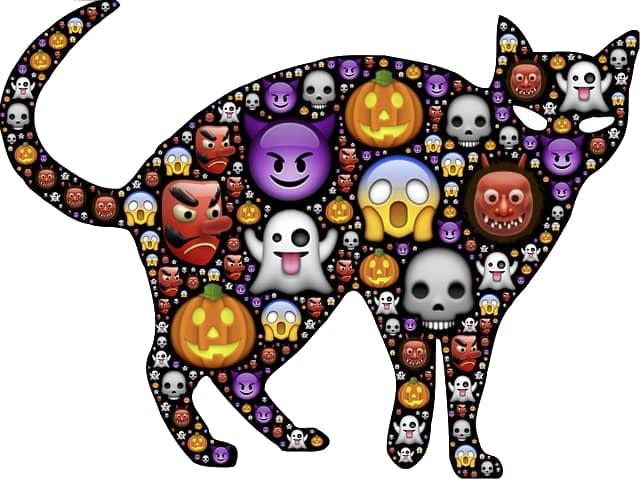 Schwarze Katze mit Emojis am Körper - Aberglaube Hochzeit?